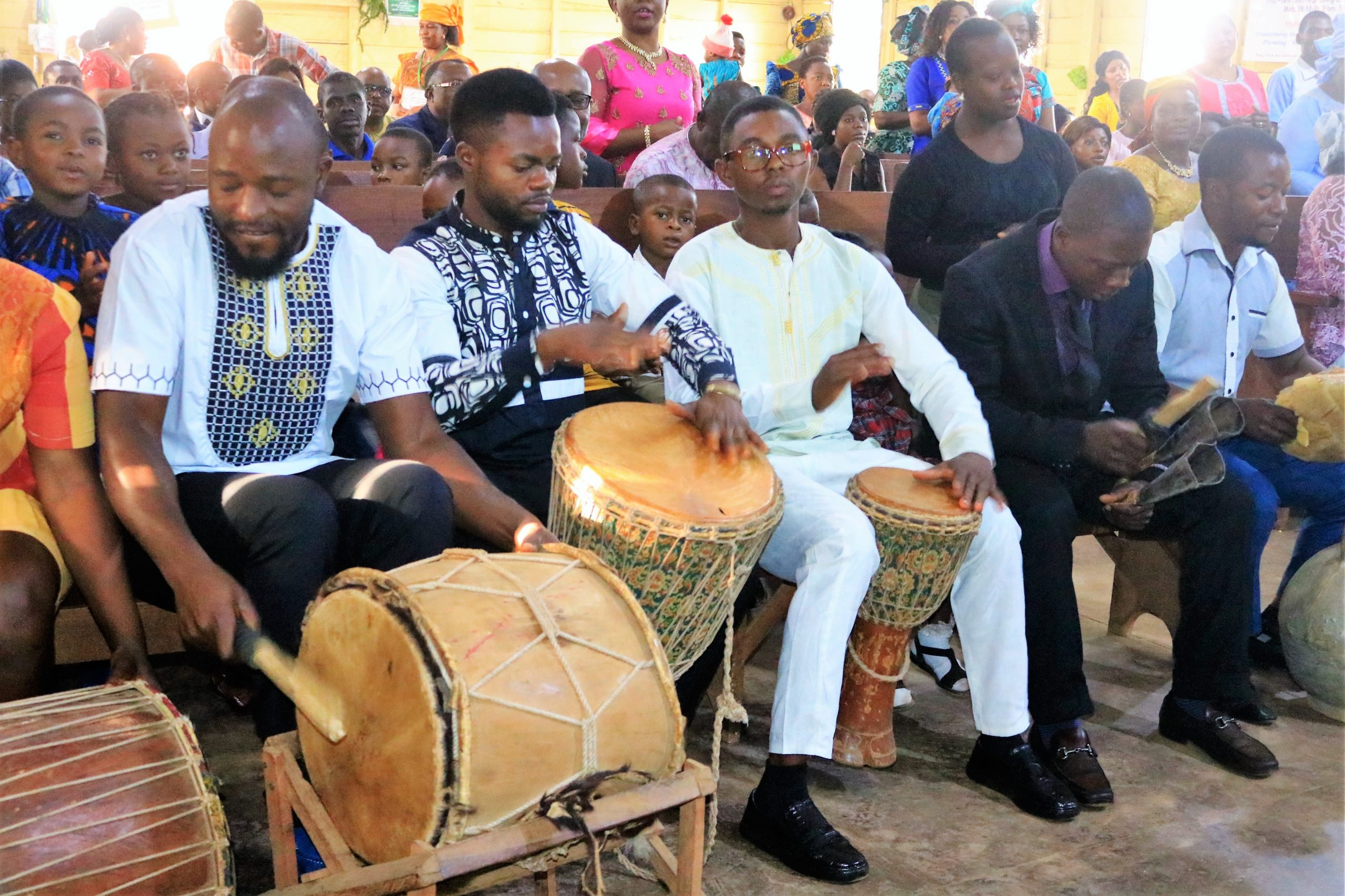 Music ministry and instrumentalists in session